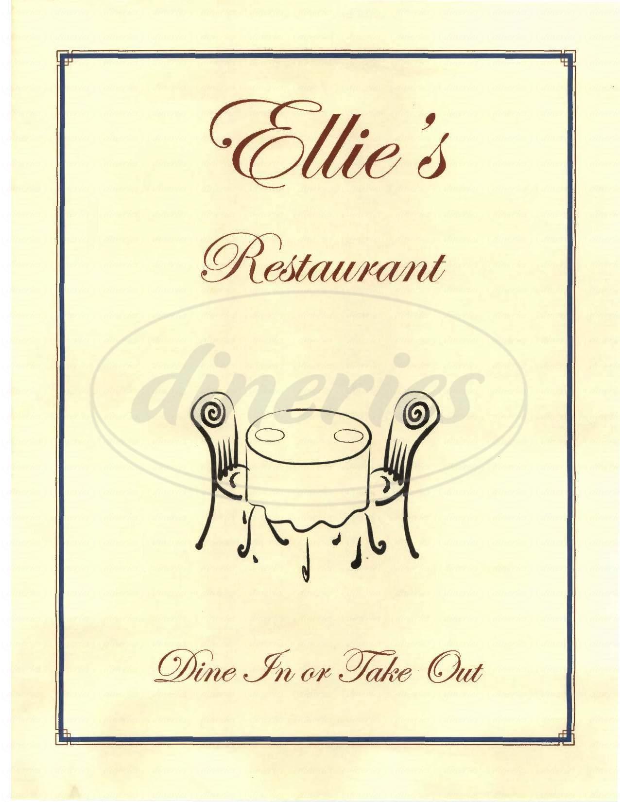 menu for Ellie's