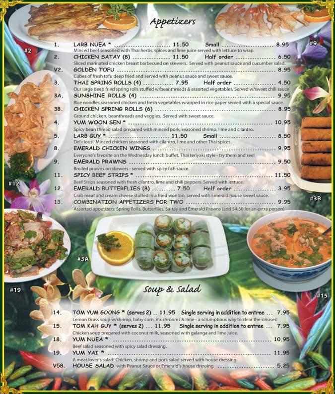 menu for Emerald of Siam Thai Restaurant
