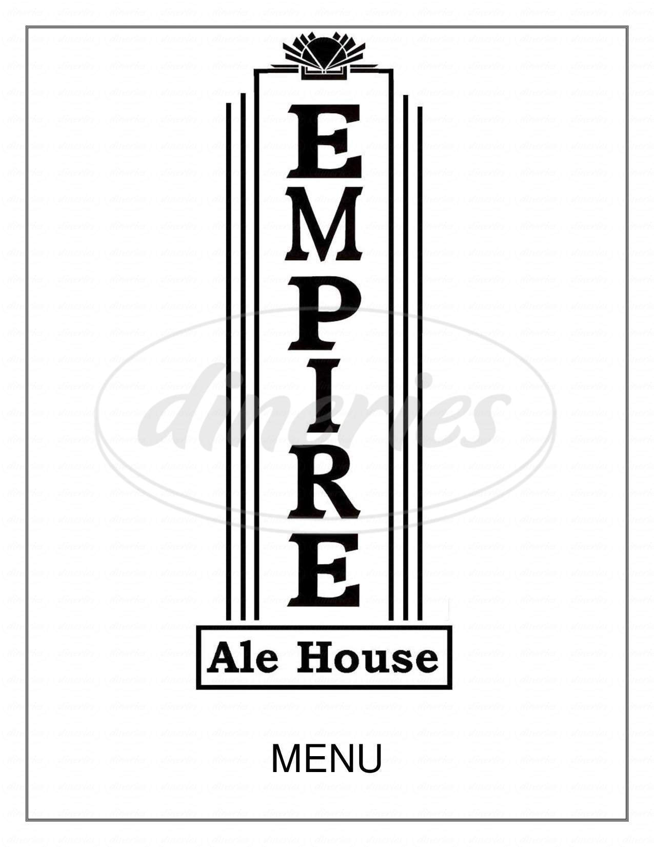 menu for Empire Ale House