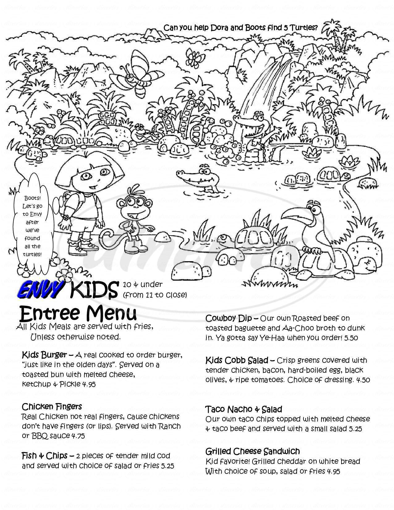 menu for ENVY Bar and Grill