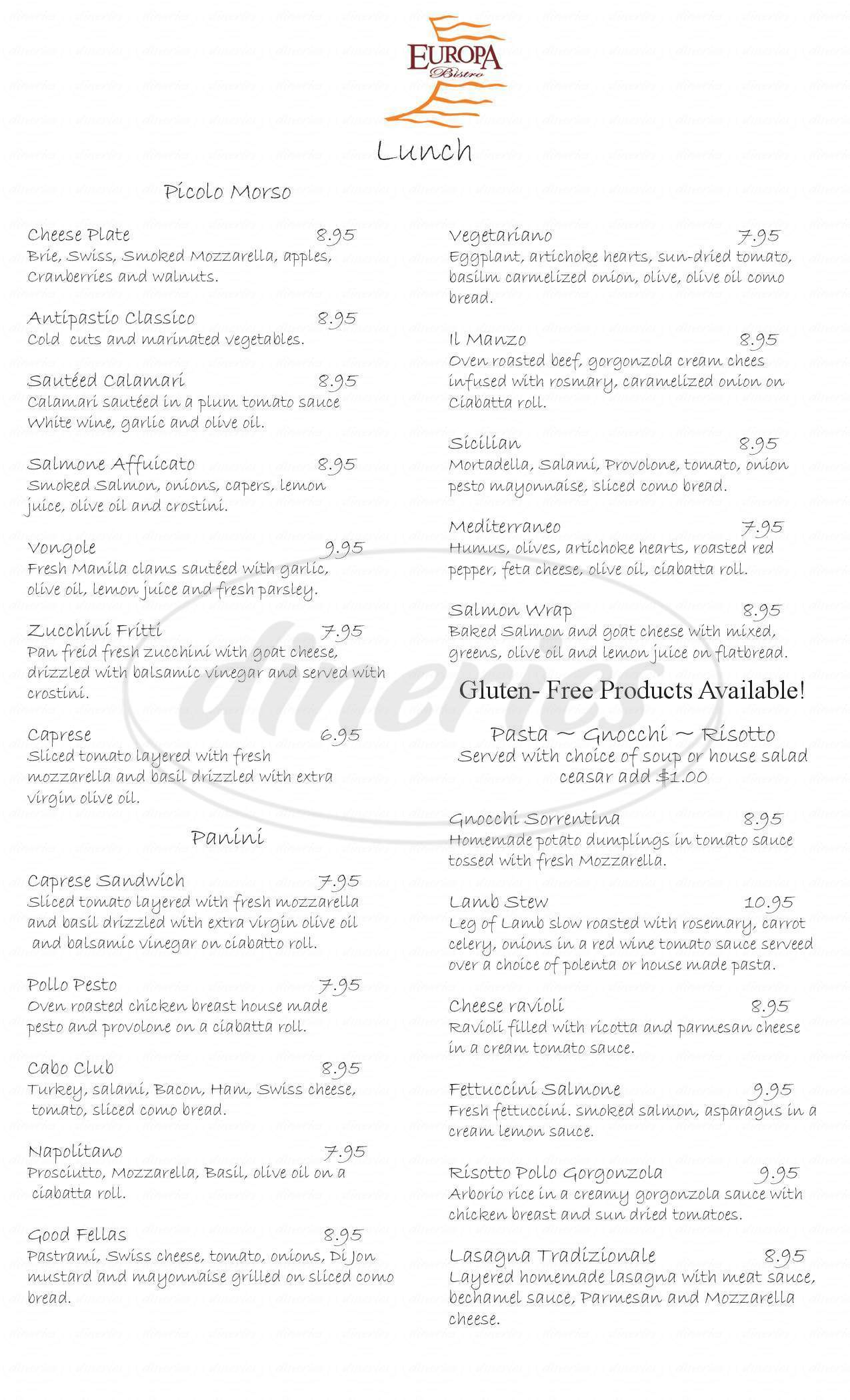 menu for Europa Bistro