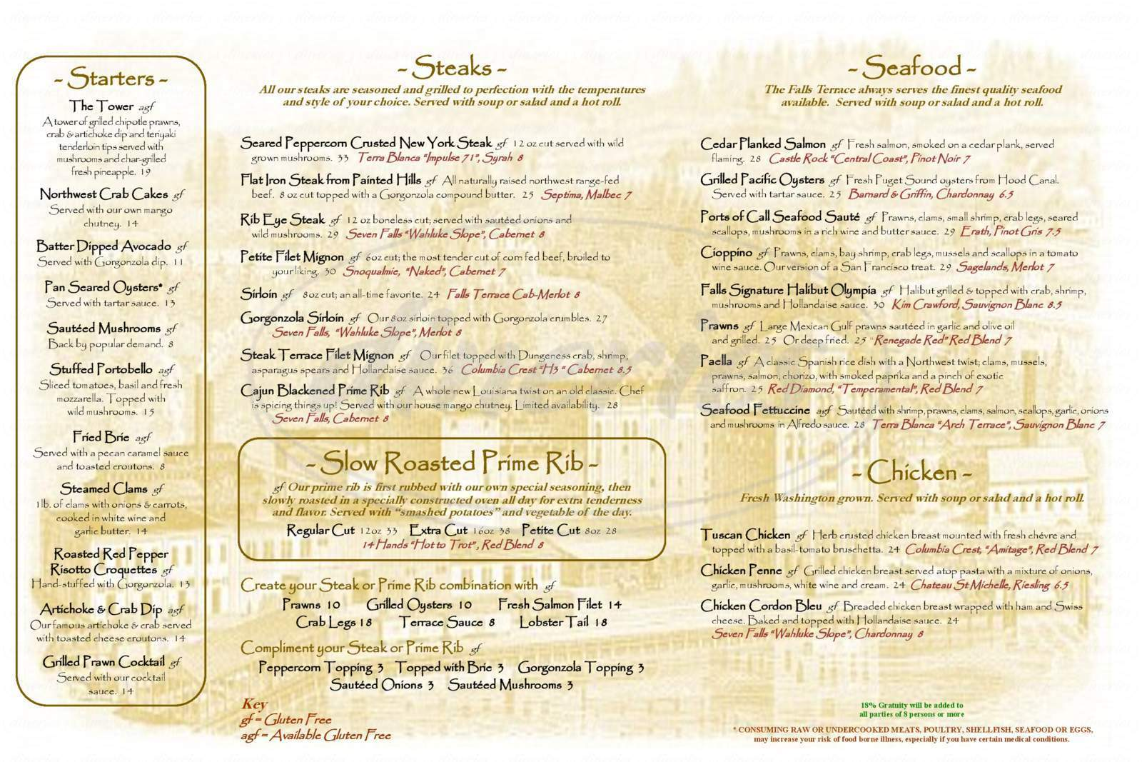 menu for Falls Terrace Restaurant