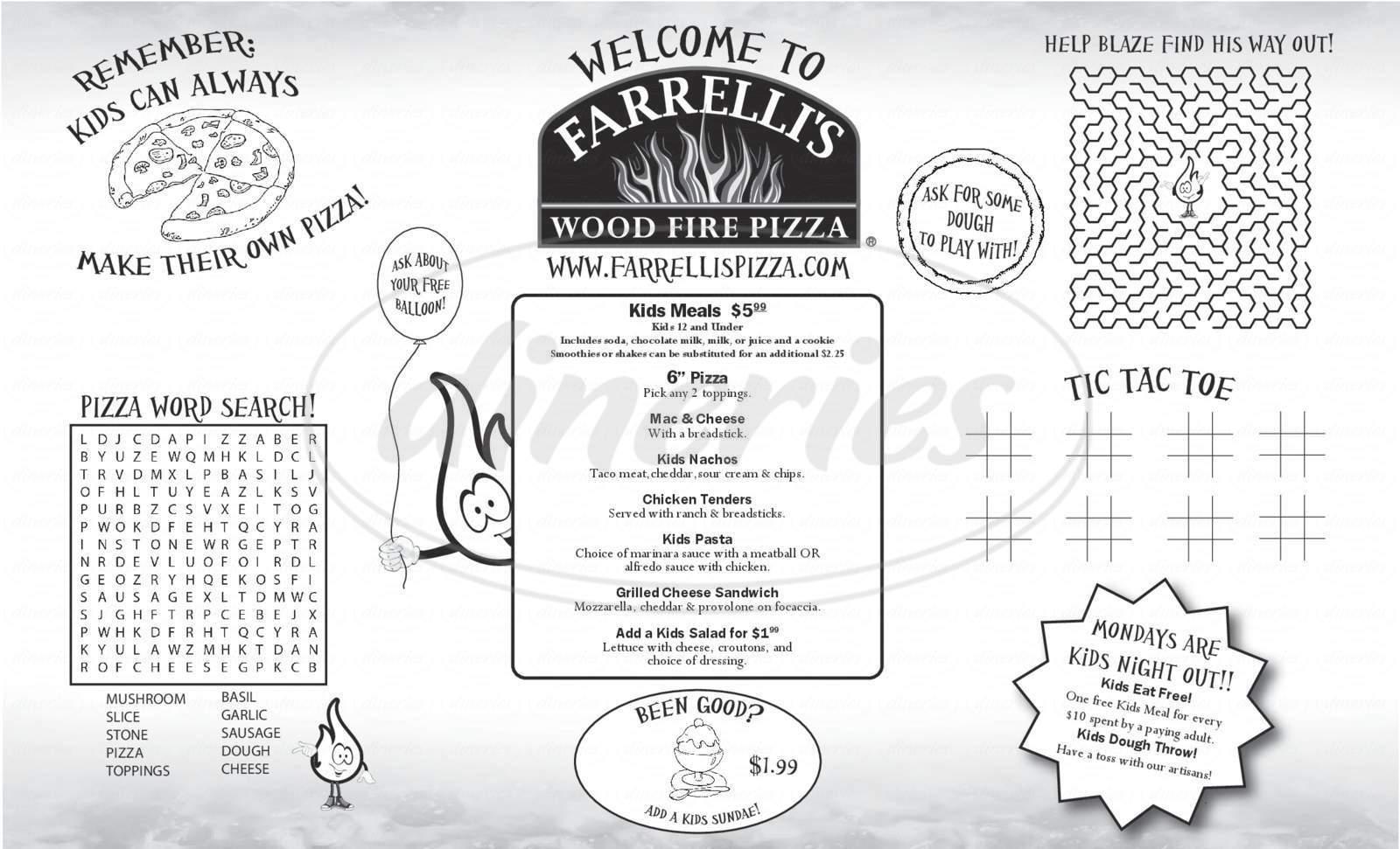 menu for Farrelli's Wood Fire Pizza