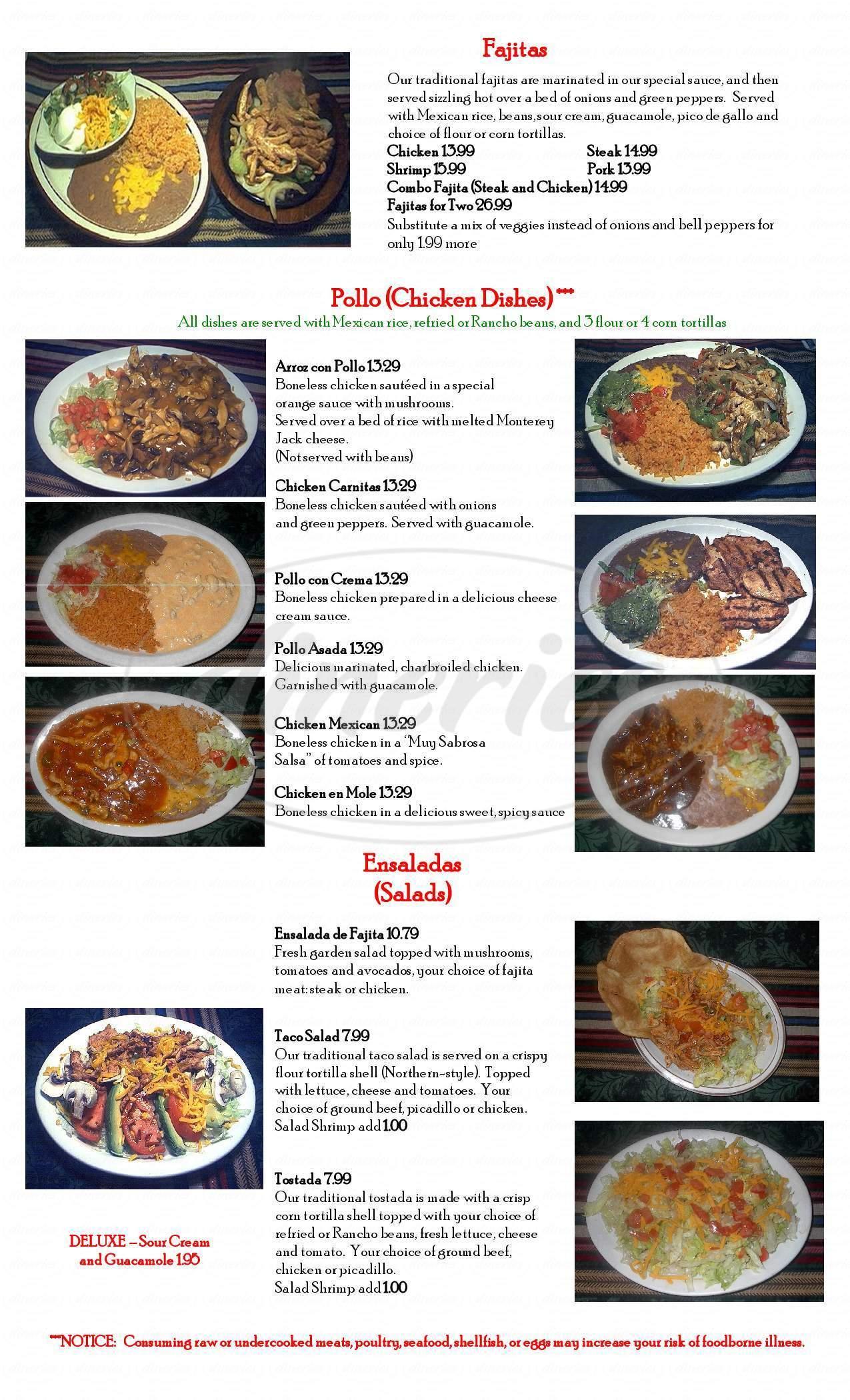menu for Fiesta Mexican Restaurant