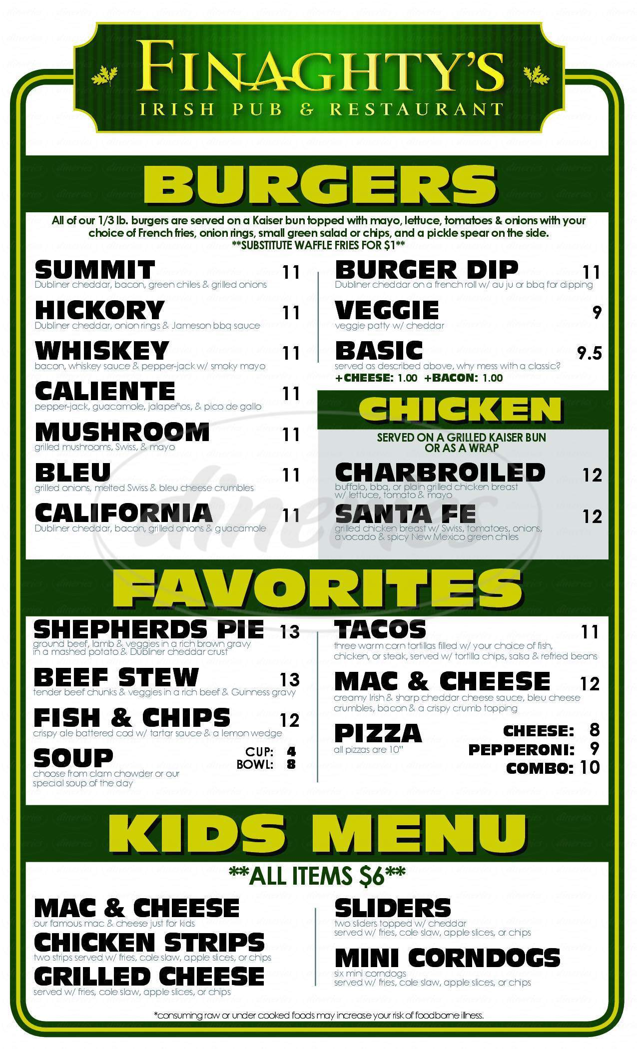 menu for Finaghty's Irish Pub
