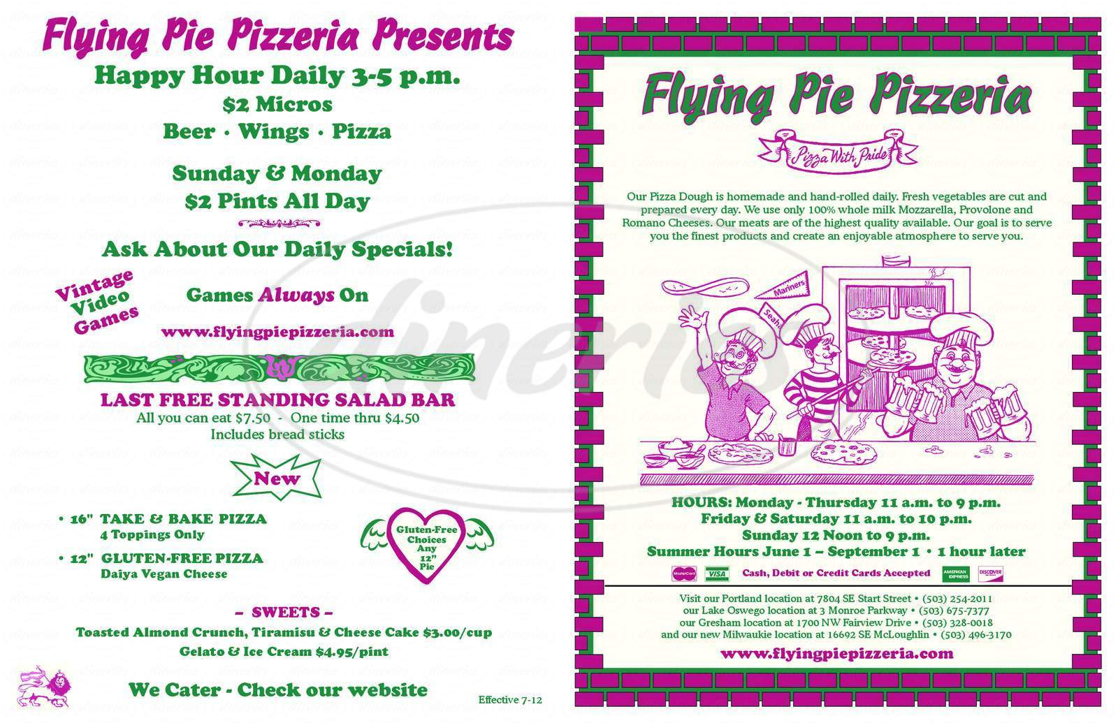 menu for Flying Pie Pizzeria
