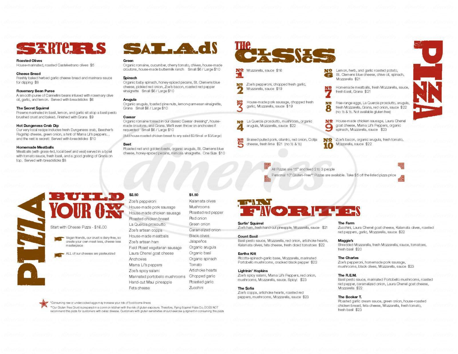 menu for Flying Squirrel Pizza Co