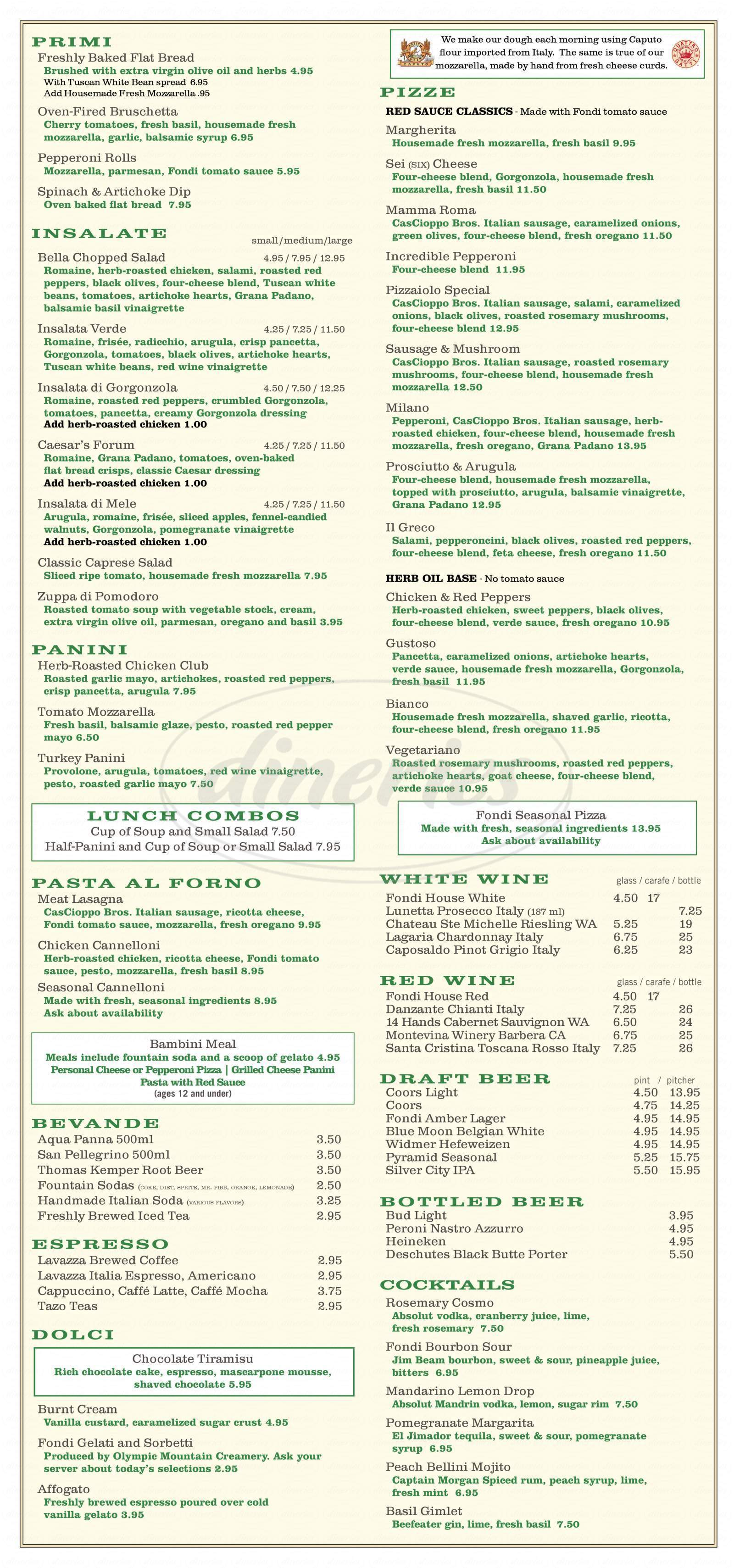 menu for Fondi Pizzeria