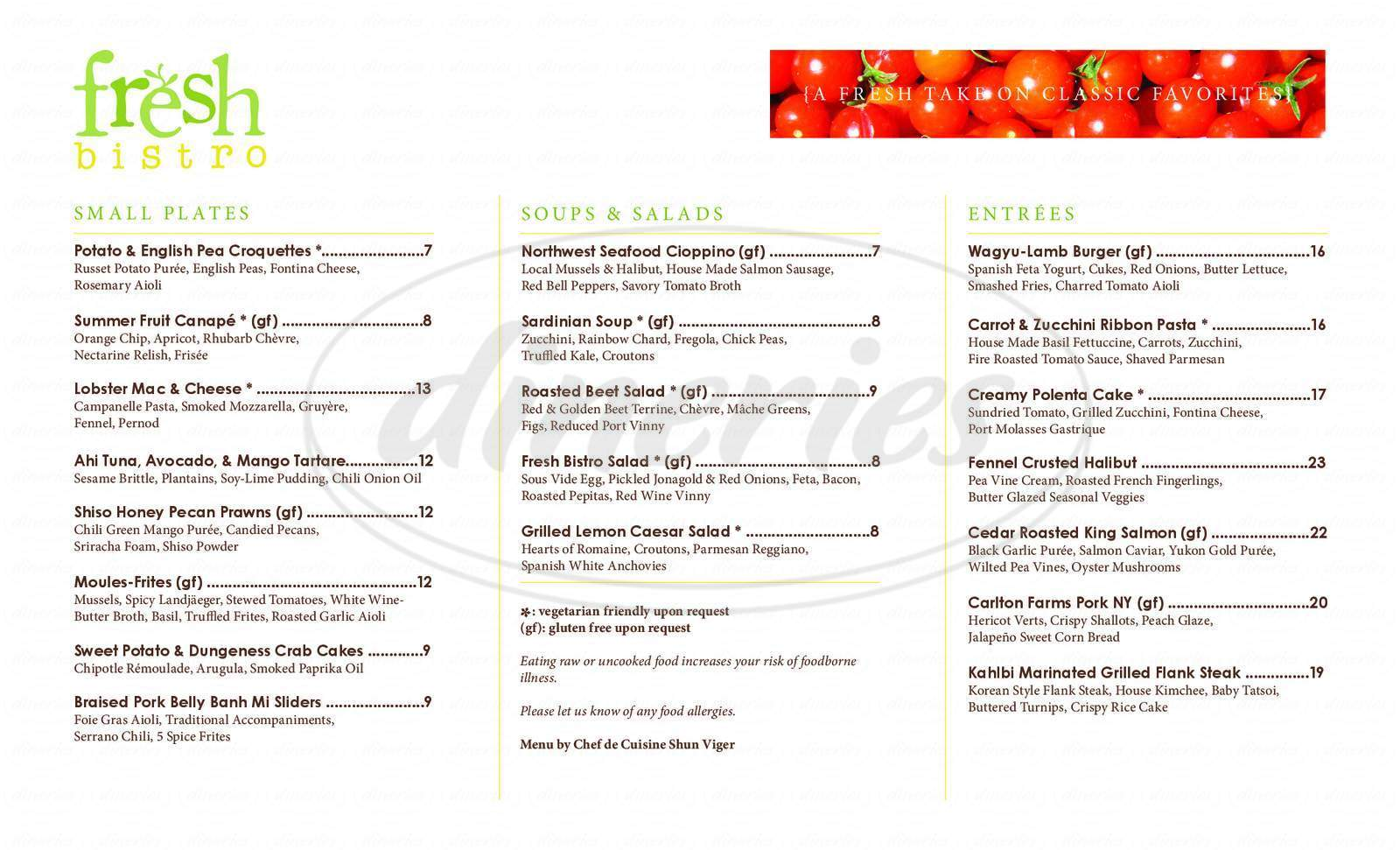 menu for Fresh Bistro