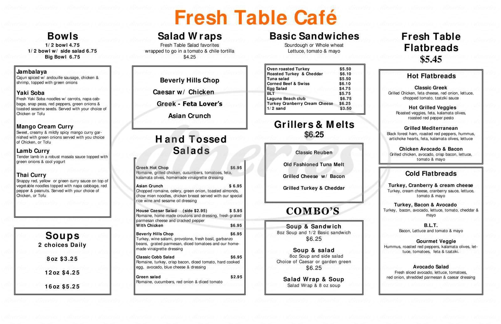 menu for Fresh Table Cafe
