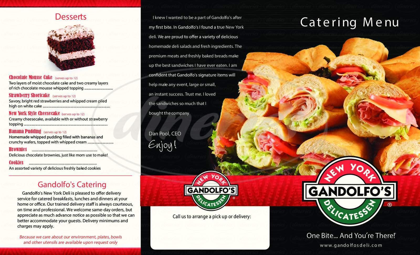 menu for Gandolfos NY Style Deli