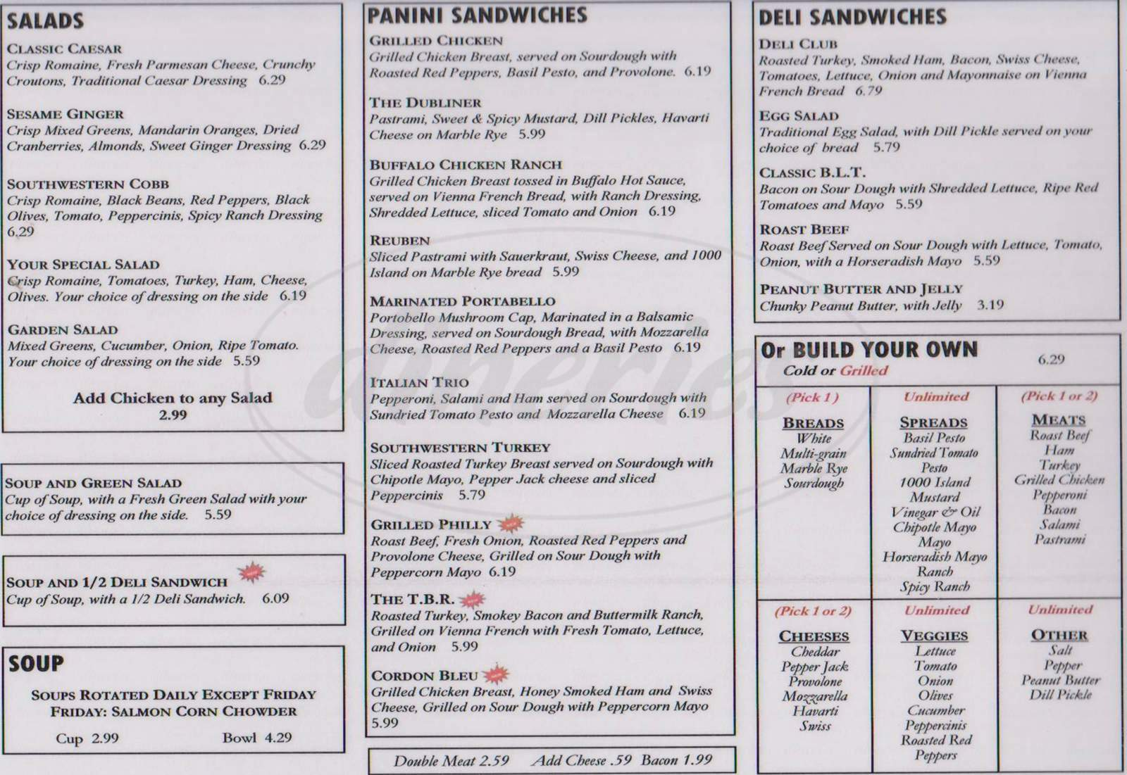 menu for Garland Sandwich Shoppe