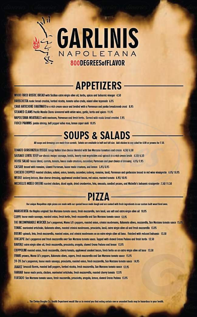 menu for Garlini's Napoletana