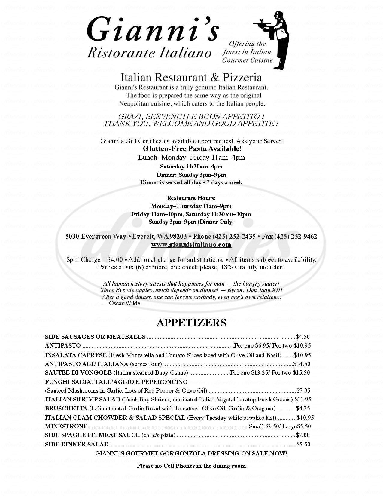 menu for Gianni's Ristorante Italiano