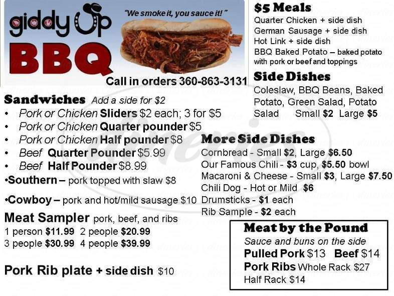 menu for Giddy Up BBQ