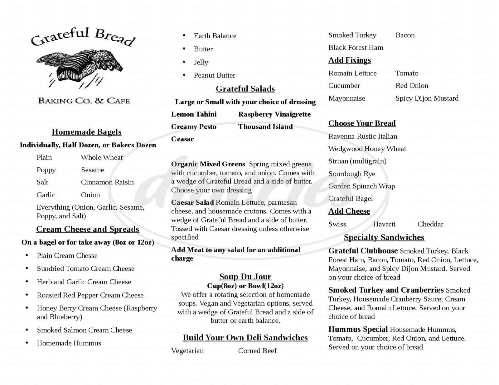 menu for Grateful Bread