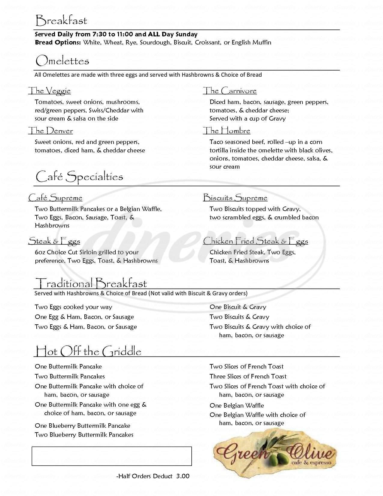 menu for Green Olive Cafe