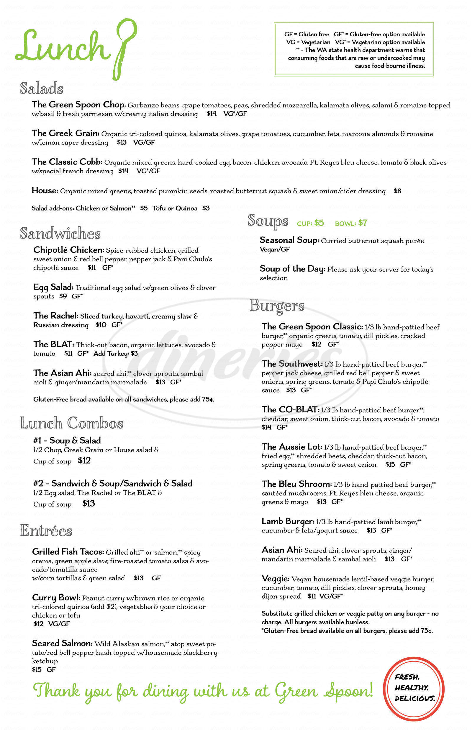 menu for Green Spoon