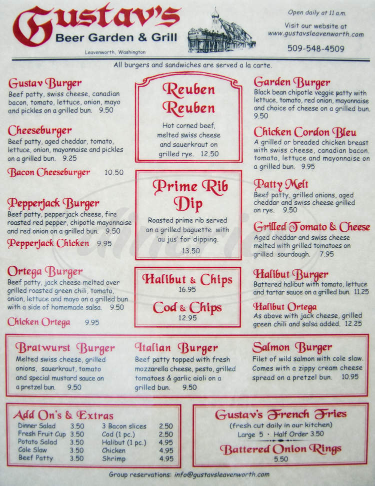 menu for Gustav's