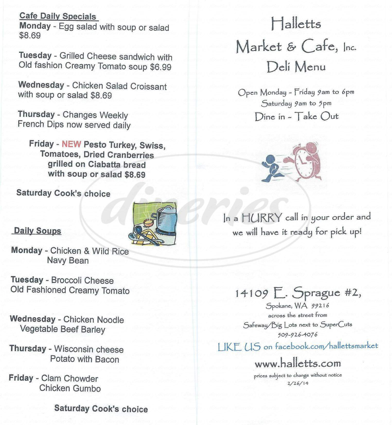 menu for Hallett's Market and Cafe