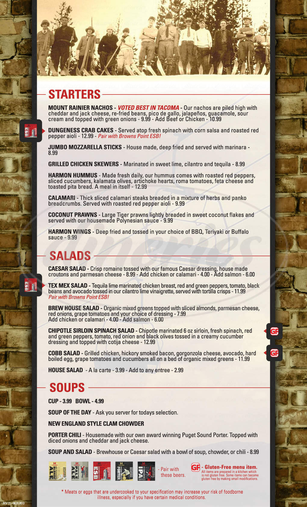 menu for Harmon Brewing Co & Restaurant