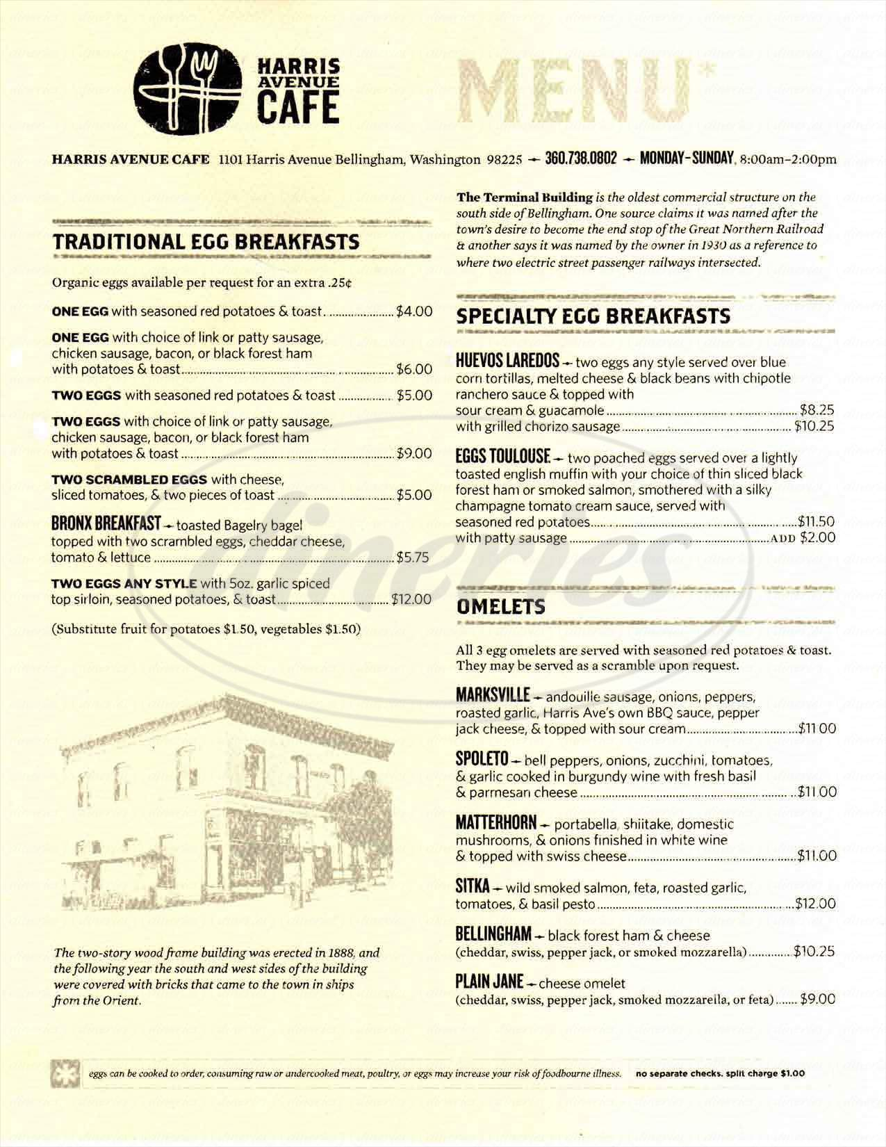 menu for Harris Avenue Cafe