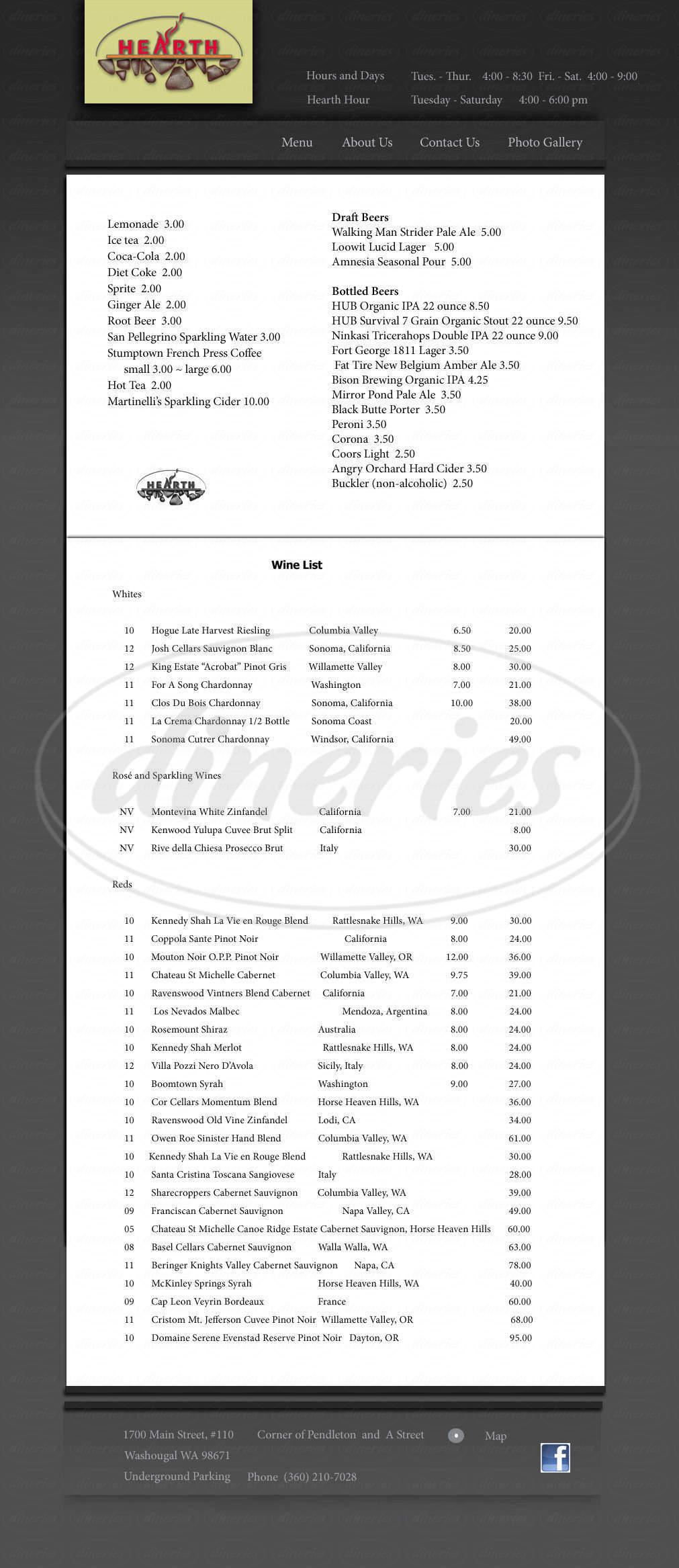 menu for Hearth