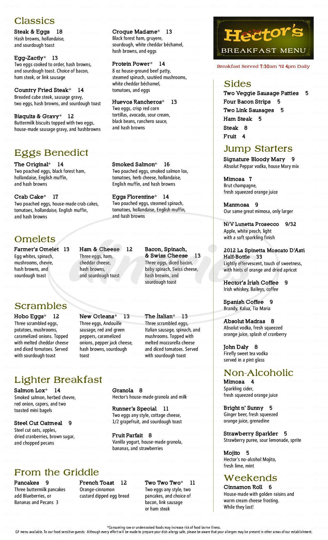 menu for Hector's Restaurant