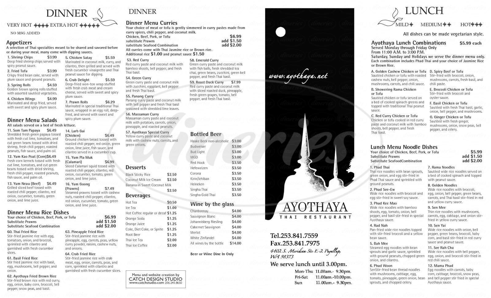 menu for Ayothaya Thai Restaurant