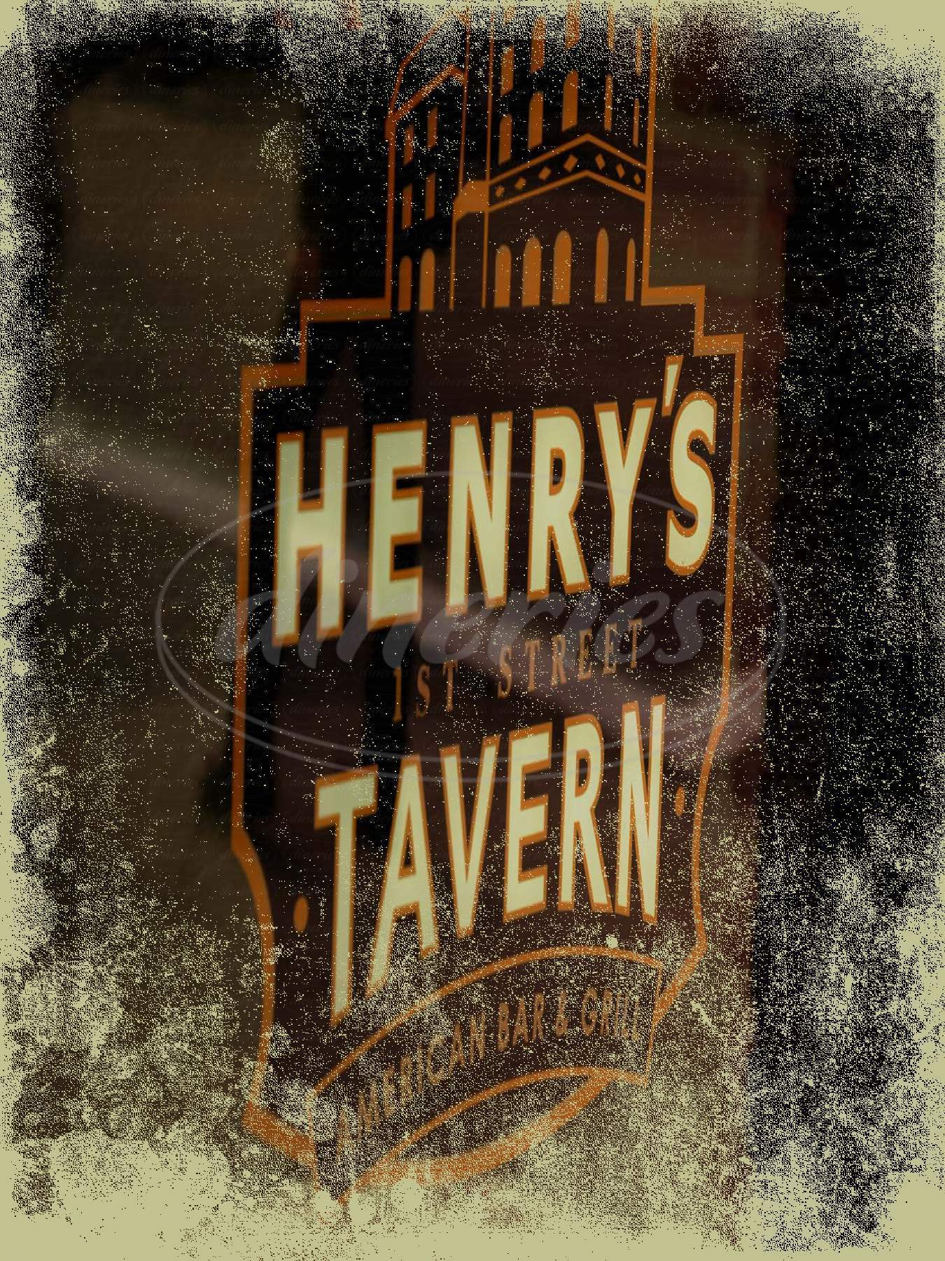menu for Henry's Tavern