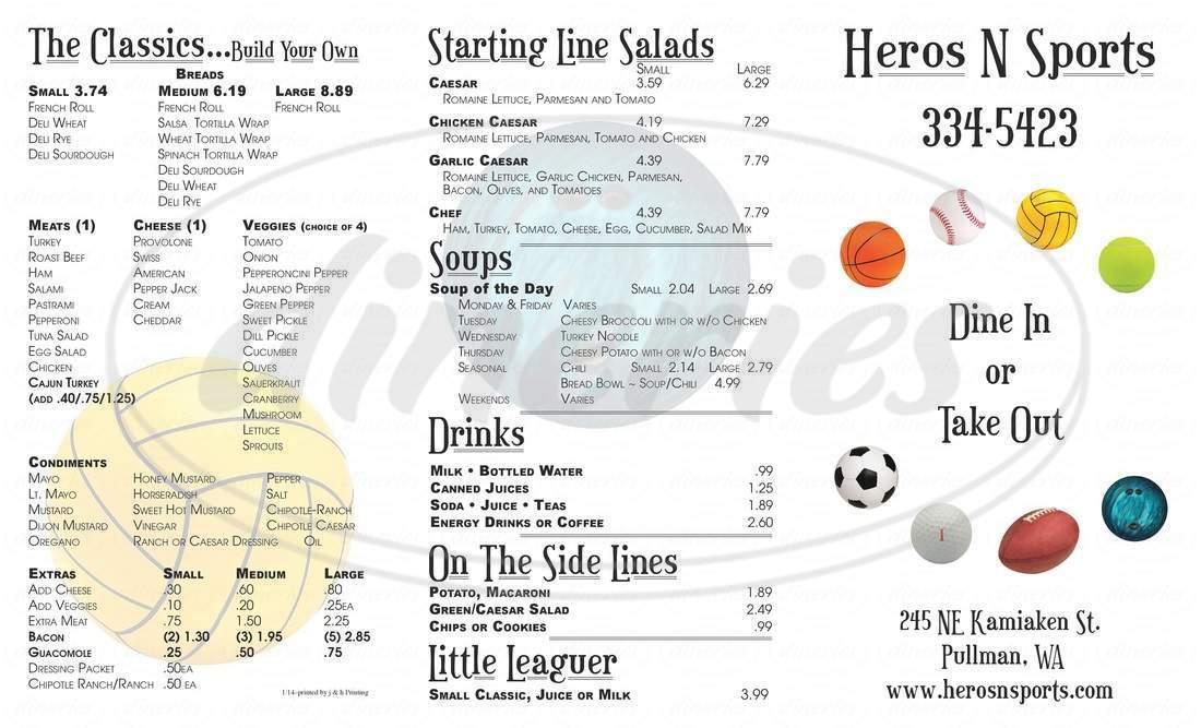 menu for Heros N Sports