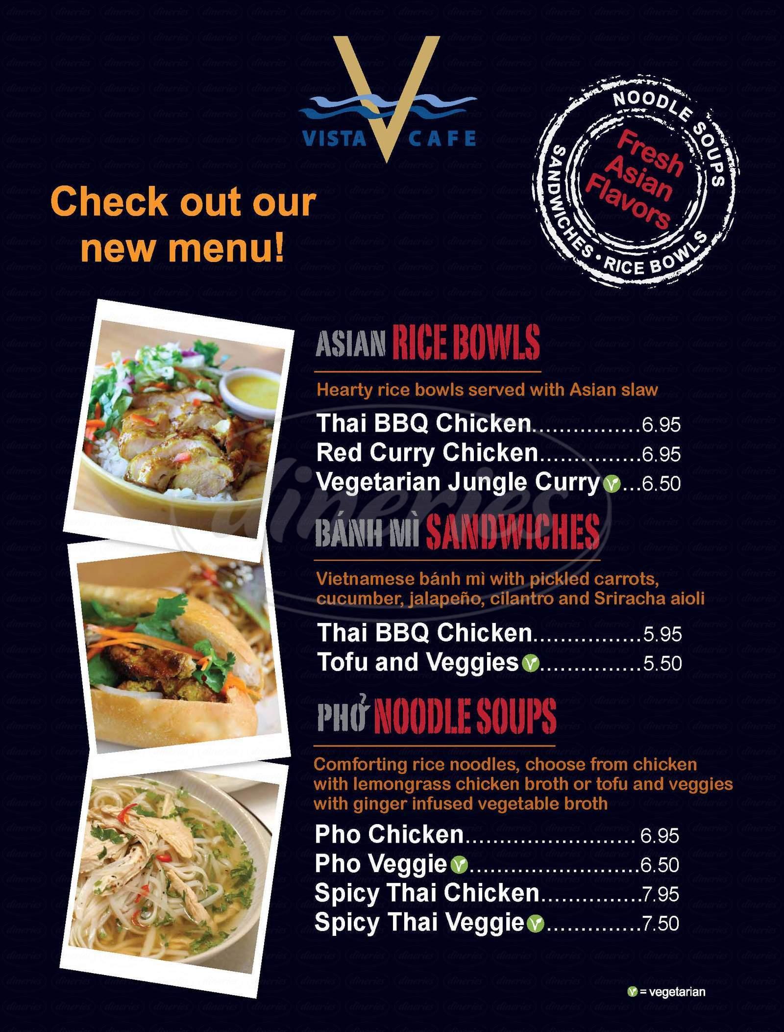 menu for Vista Cafe