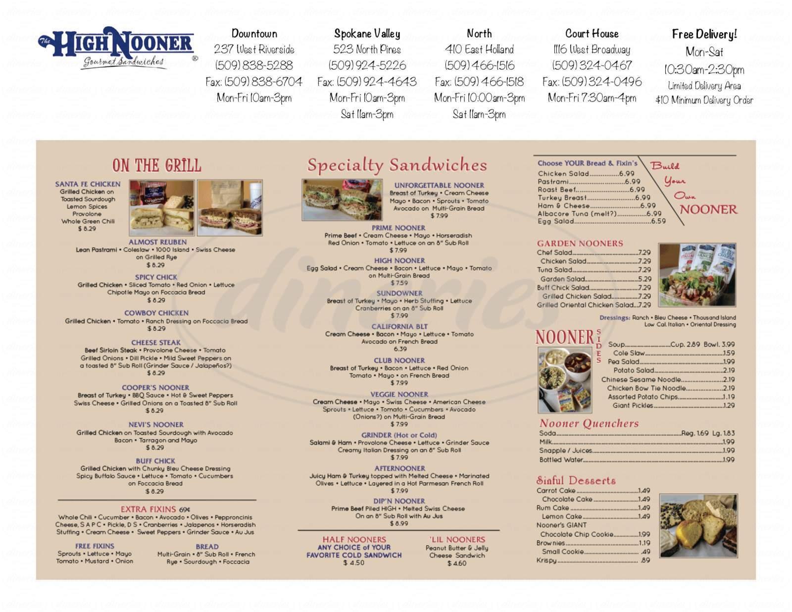 menu for High Nooner