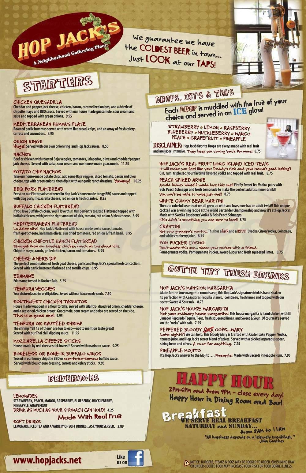 menu for Hop Jack's