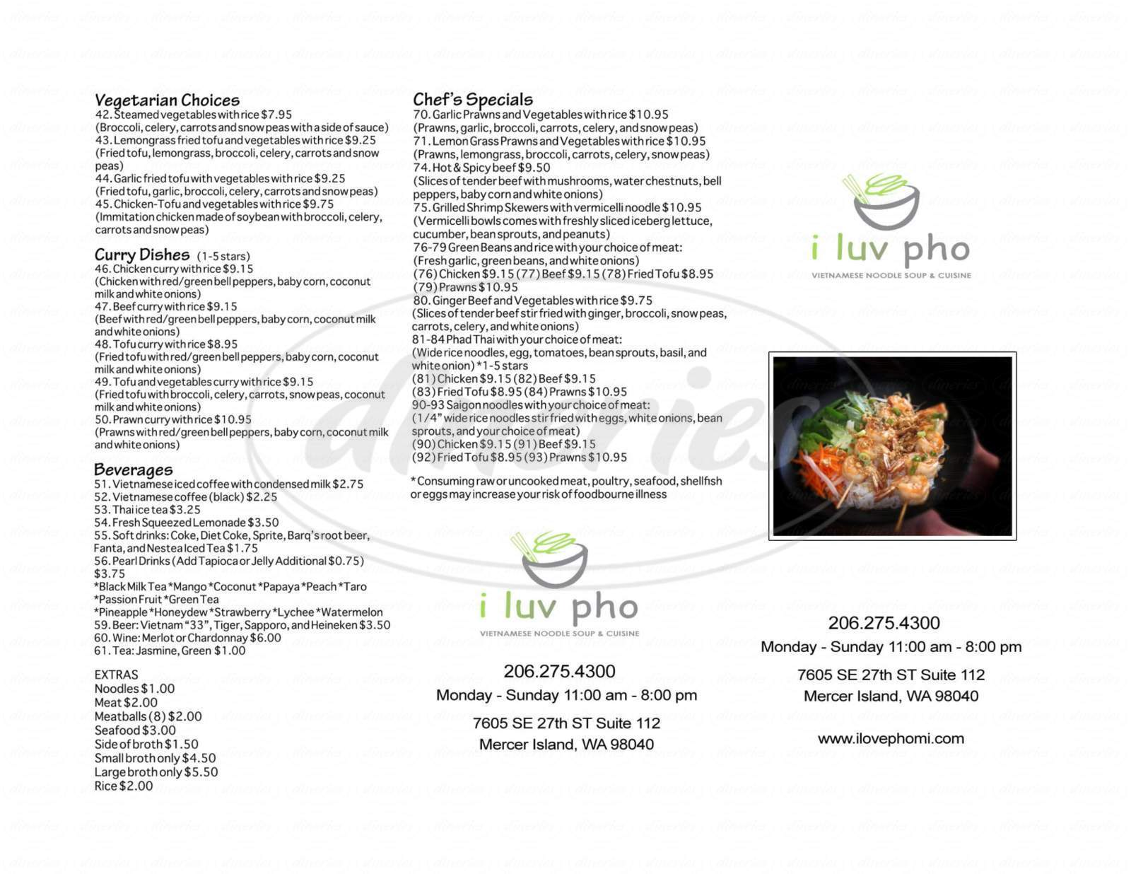 menu for I Love Pho