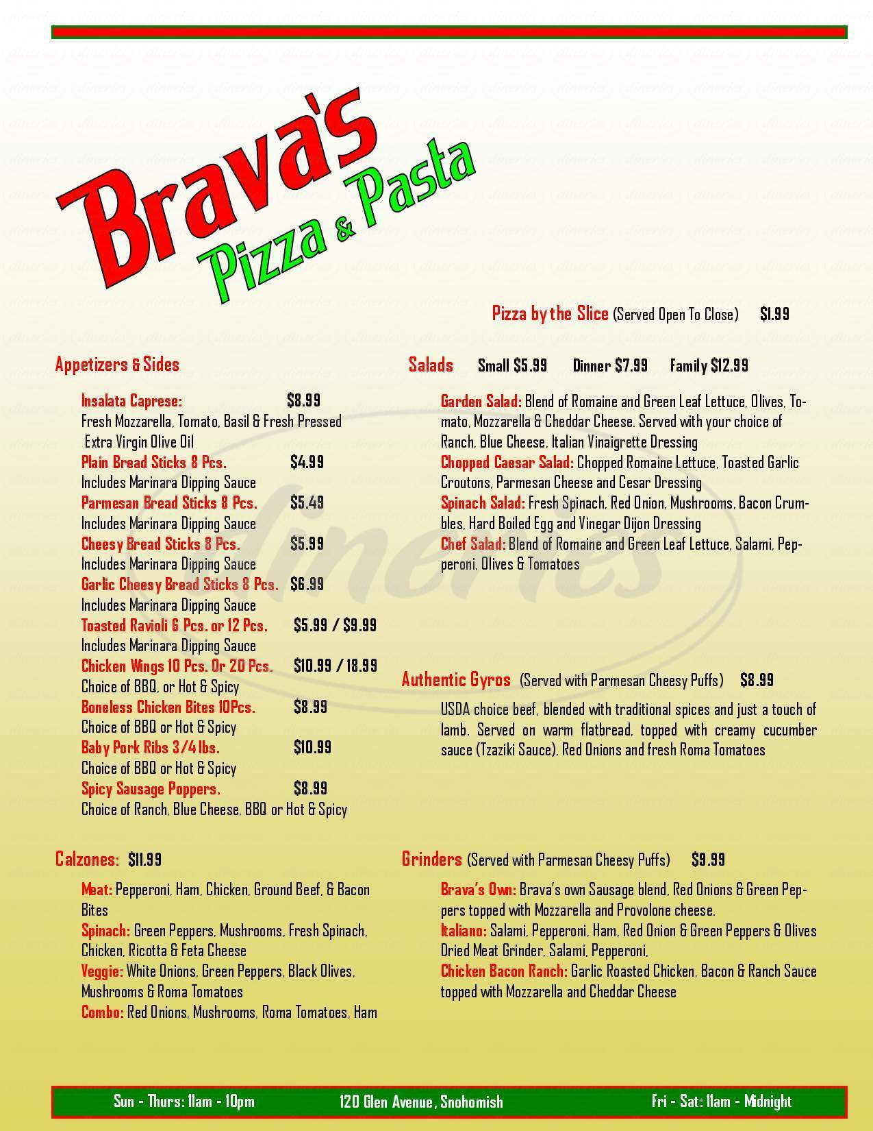 menu for Pizza Brava