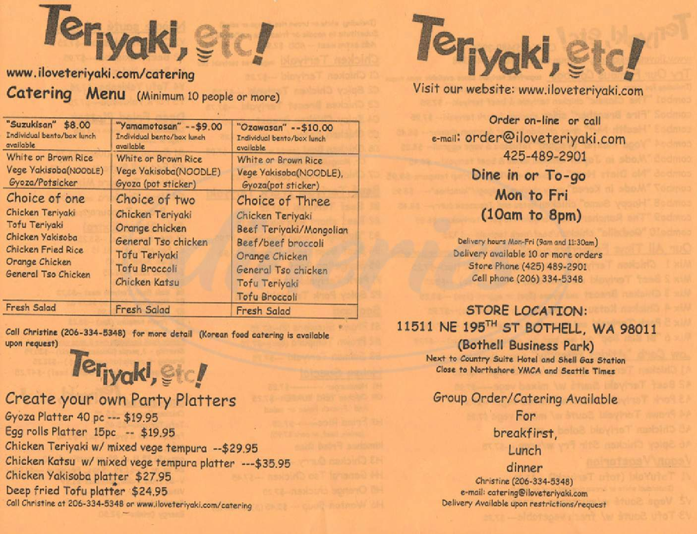 menu for Teriyaki, etc!
