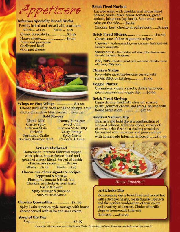 menu for Infernos Brick Oven Pizza