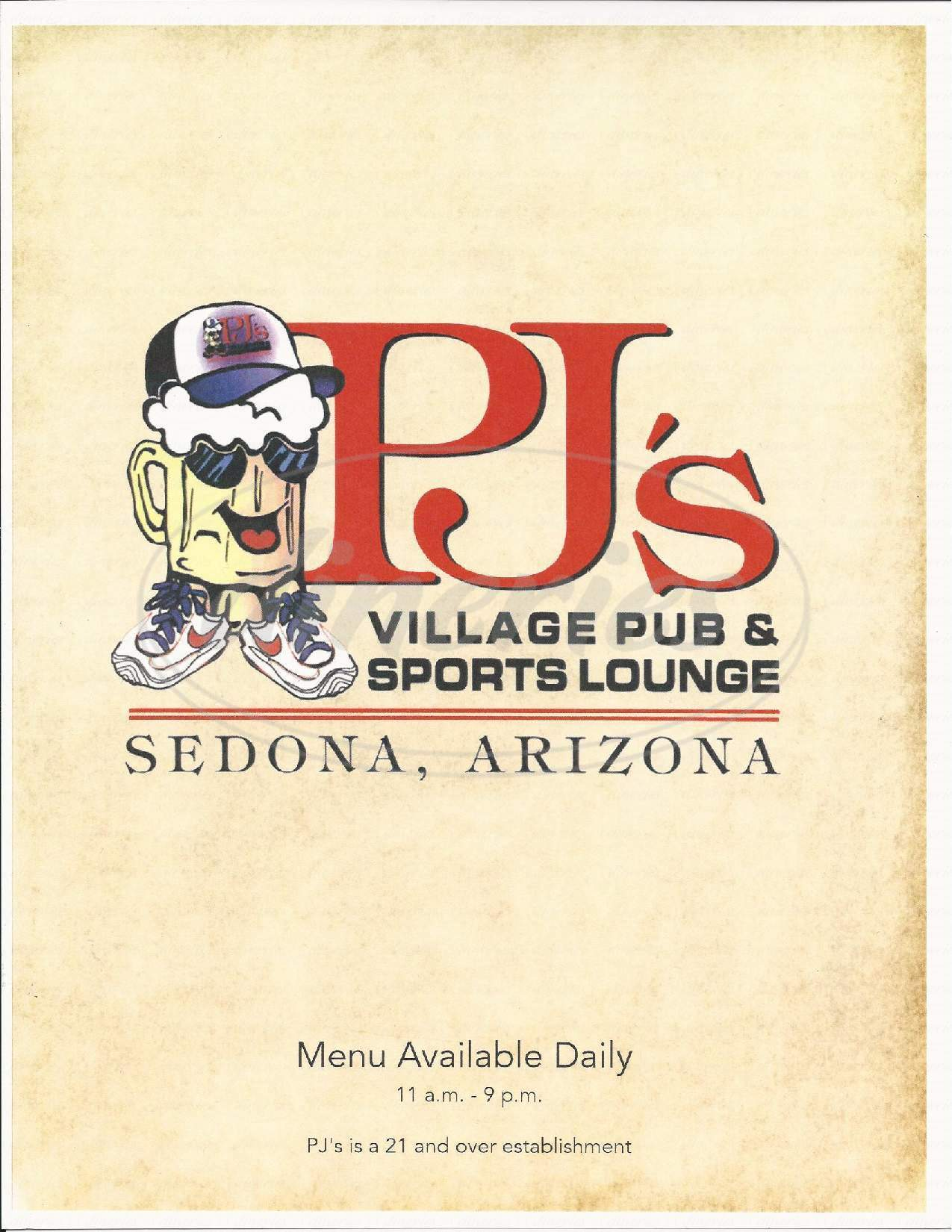 menu for PJ's Village Pub