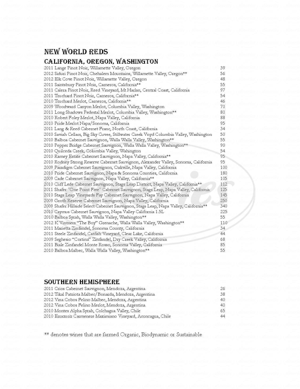 menu for Open Range
