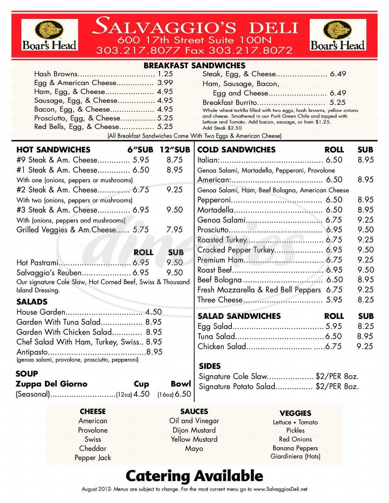 menu for Salvaggio's Deli
