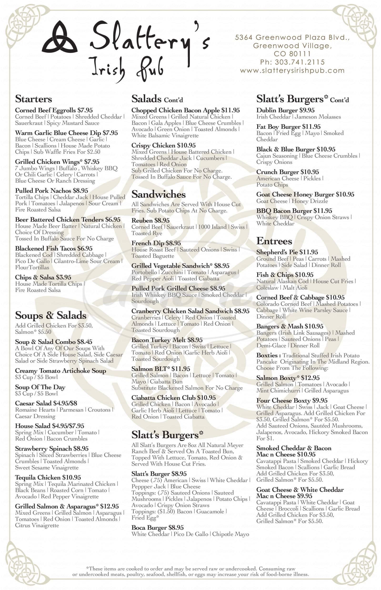 menu for Slattery's Irish Pub