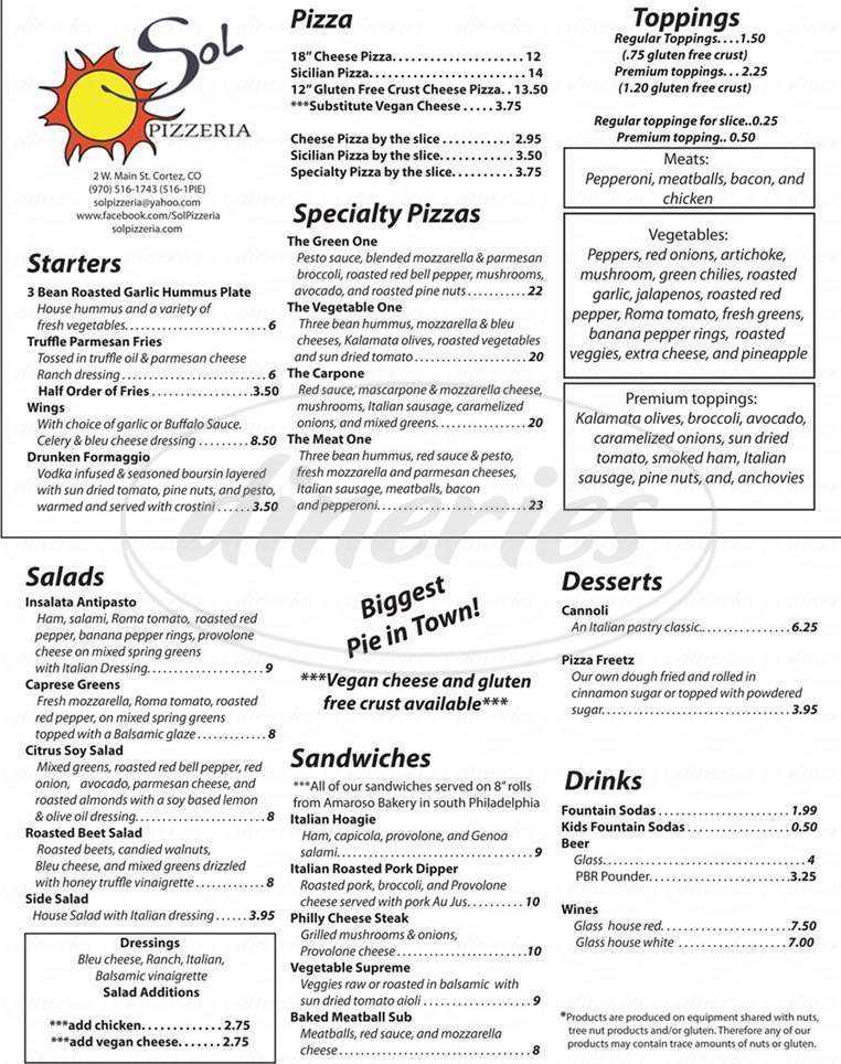 menu for Sol Pizzeria