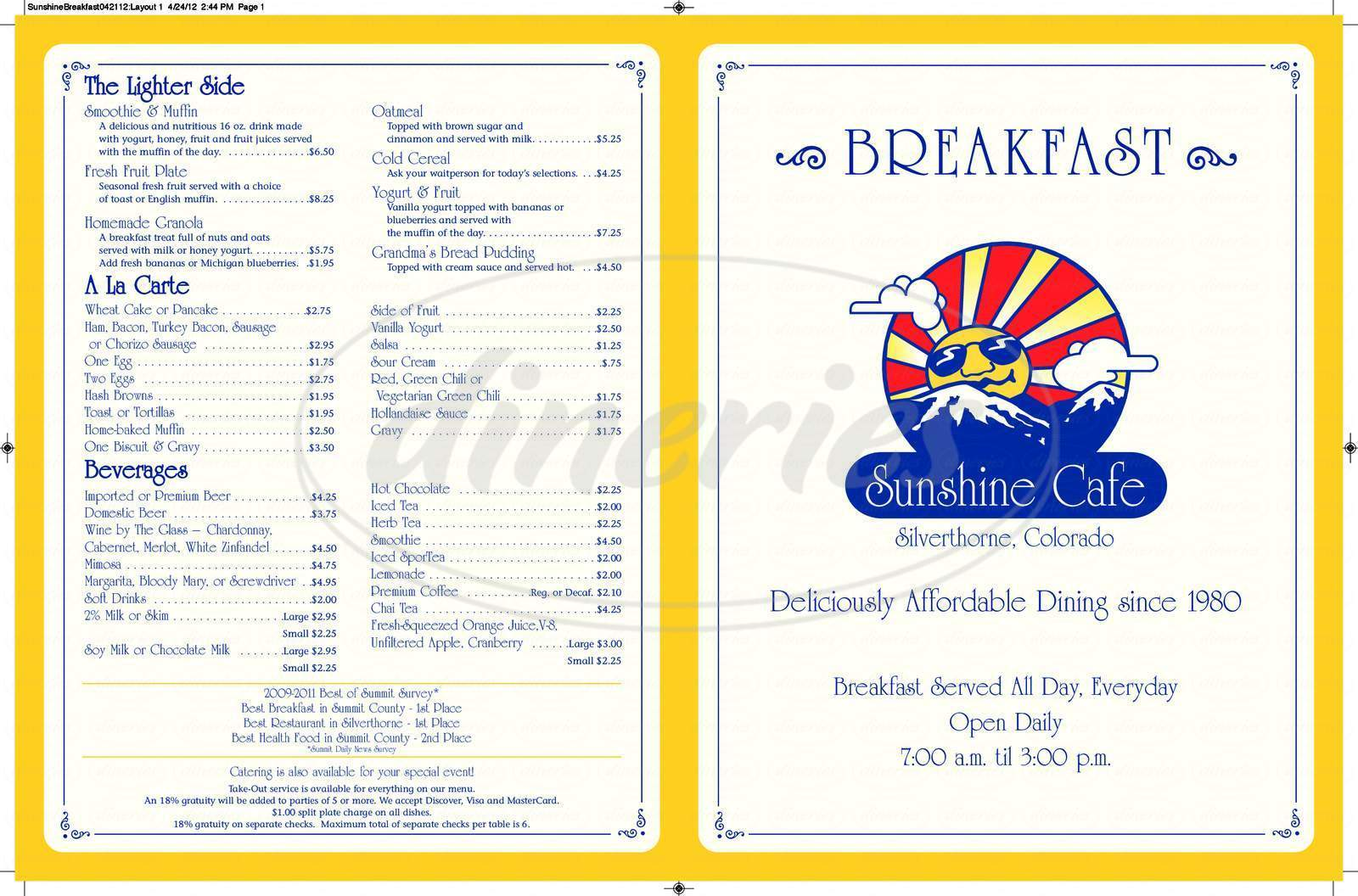 menu for Sunshine Cafe