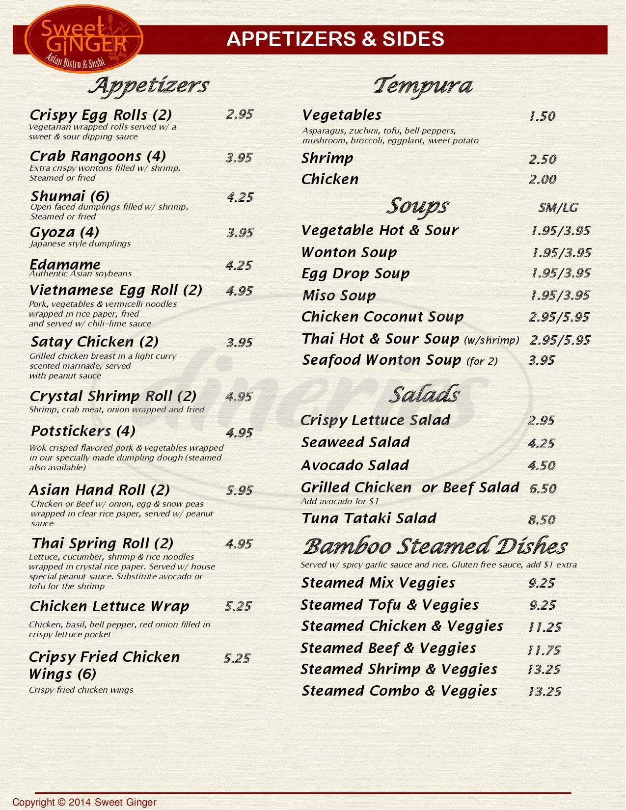 menu for Sweet Ginger Asian Bistro and Sushi