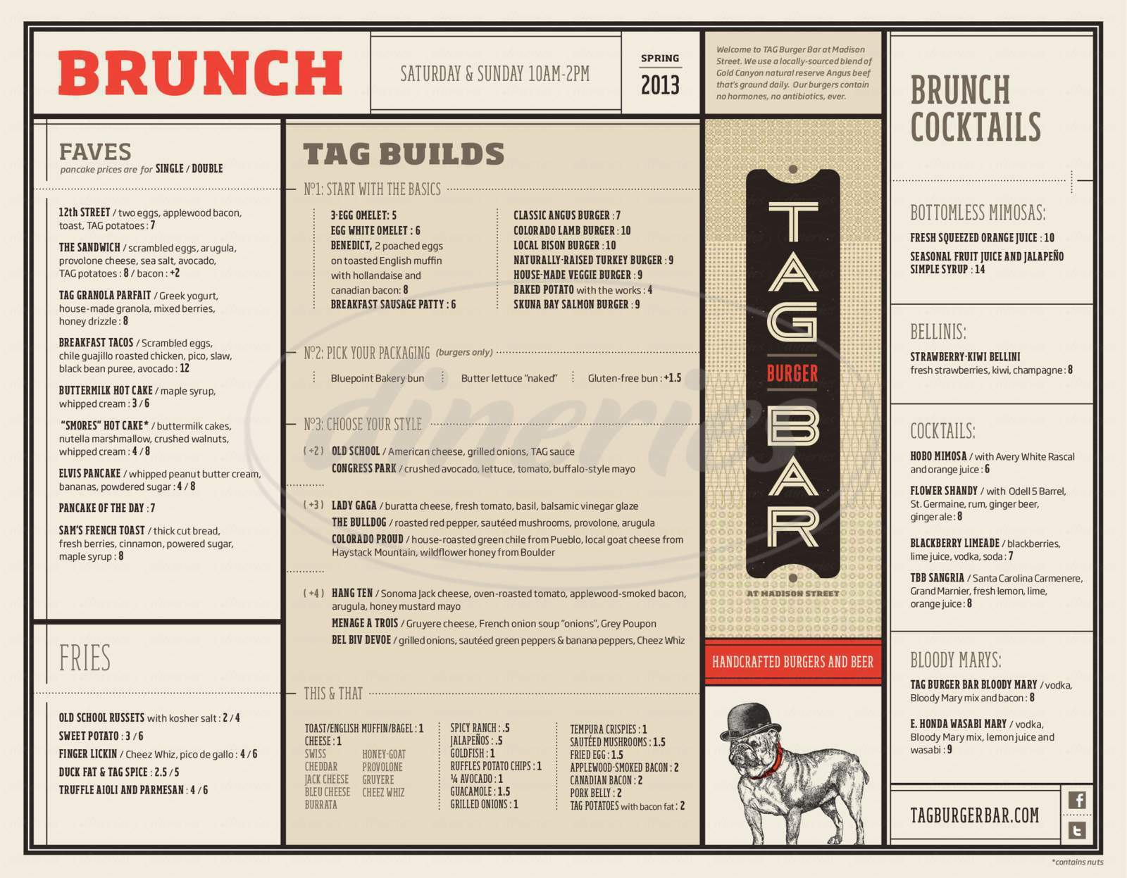 menu for TAG Burger Bar