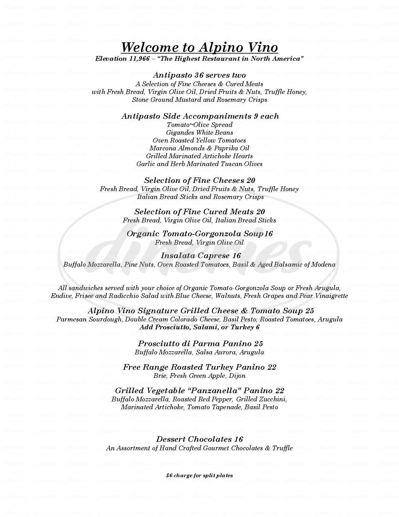 menu for Alpino Vino