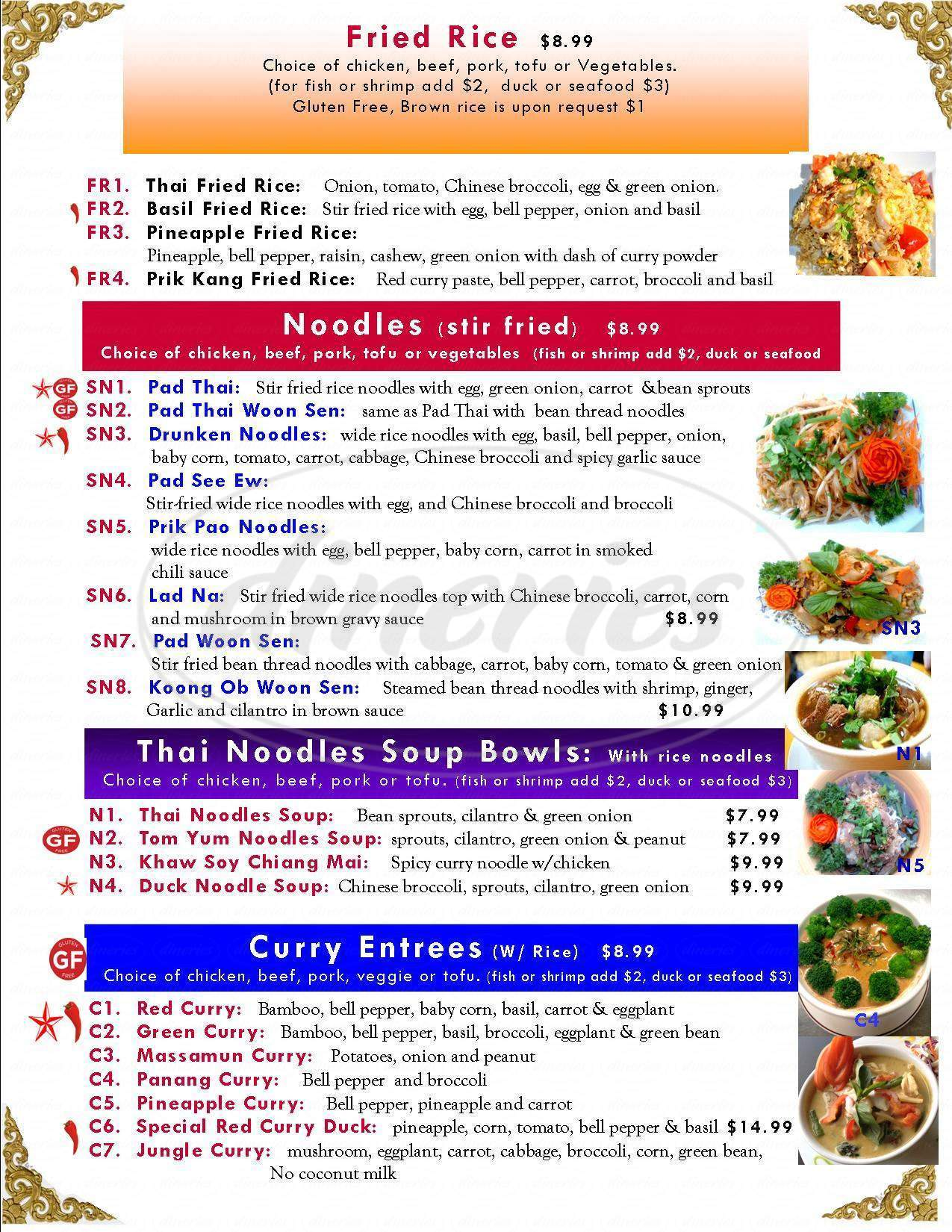menu for Thai Monkey Club