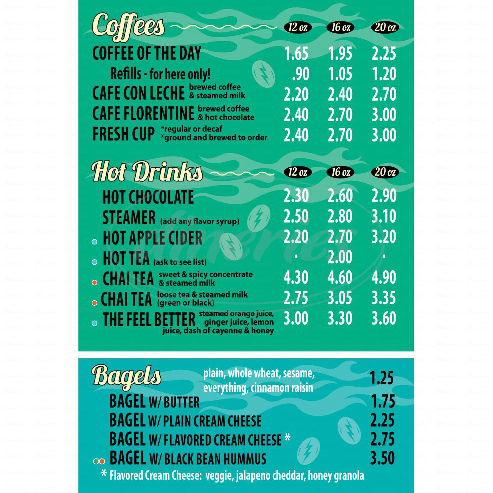 menu for The Bean Coffee House