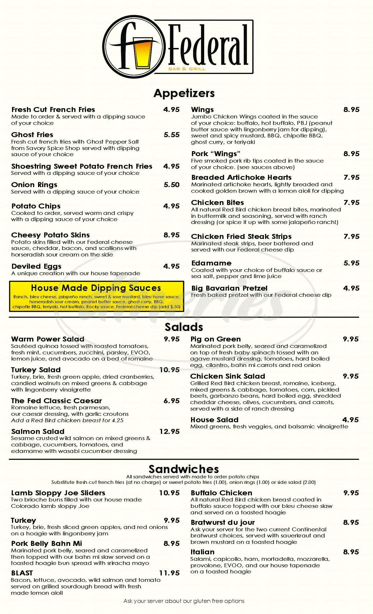 menu for Federal Bar & Grill